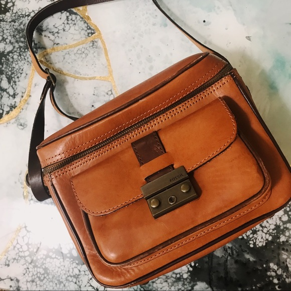 Fossil Handbags - Vintage Fossil cognac leather satchel camera bag bf46d050f9356